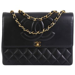 Chanel Vintage CC Flap Shoulder Bag Quilted Lambskin Large