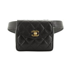 Chanel Vintage CC Flap Waist Bag Quilted Caviar Small