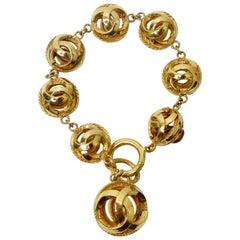 Chanel Vintage CC Logo Charm Bracelet