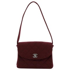 Chanel Vintage CC Shoulder Bag Quilted Jersey Small