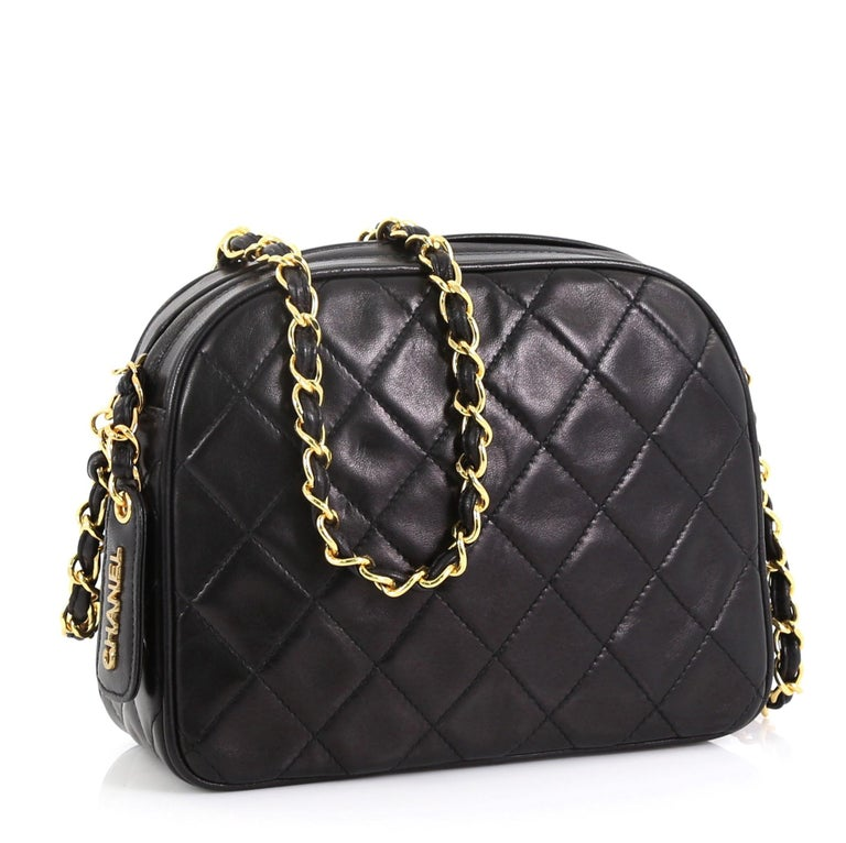Black Chanel Vintage Chain Camera Bag Quilted Lambskin Small