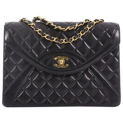 Chanel Vintage Chain Curved Flap Bag Quilted Leather Medium
