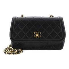 Chanel Vintage Chain Curved Flap Bag Quilted Leather Small