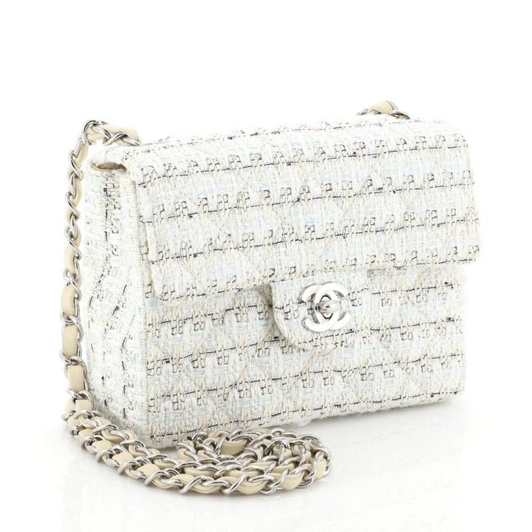 Chanel Vintage Chain Handle Flap Bag Quilted Tweed Mini In Good Condition In New York, NY