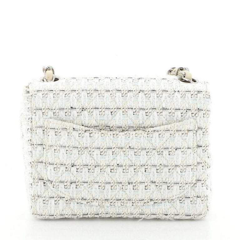 Women's or Men's  Chanel Vintage Chain Handle Flap Bag Quilted Tweed Mini