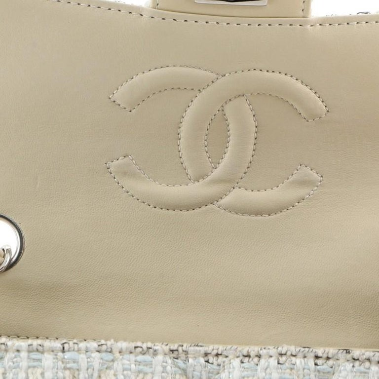 Chanel Vintage Chain Handle Flap Bag Quilted Tweed Mini 4