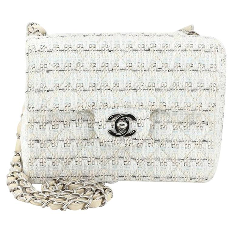 Chanel Vintage Chain Handle Flap Bag Quilted Tweed Mini