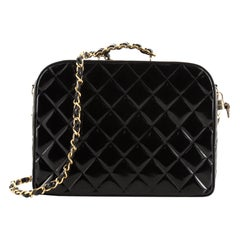 Chanel Vintage Chain Lunch Box Bag Quilted Patent Large