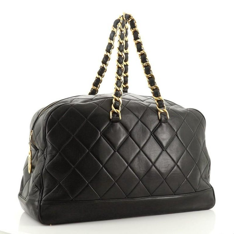 Chanel VIntage Charm Weekender Bag Quilted Lambskin Large In Good Condition For Sale In New York, NY