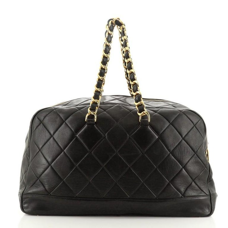 Women's or Men's Chanel VIntage Charm Weekender Bag Quilted Lambskin Large For Sale