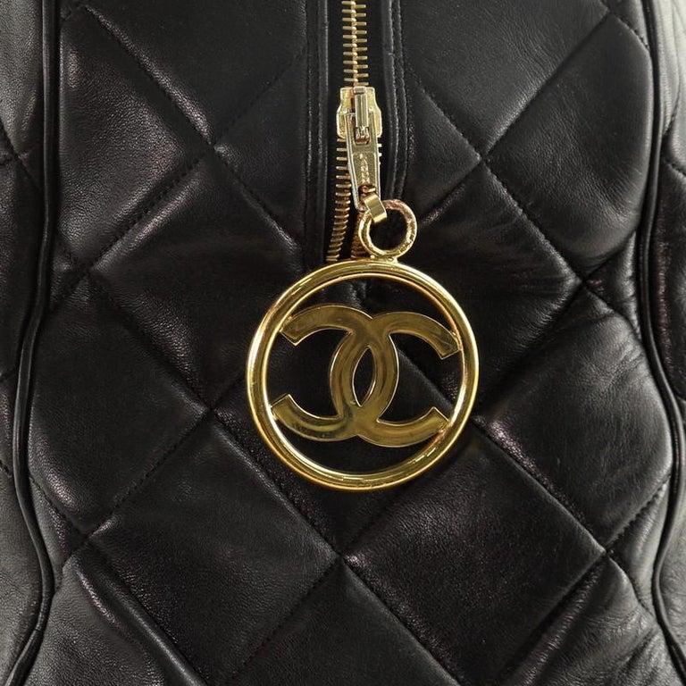 Chanel VIntage Charm Weekender Bag Quilted Lambskin Large For Sale 4