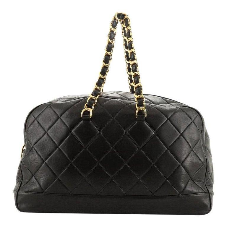 Chanel VIntage Charm Weekender Bag Quilted Lambskin Large For Sale