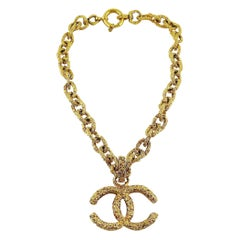 Chanel Vintage Chunky Gold Toned Textured CC Logo Pendant Necklace
