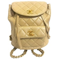 Chanel Vintage classic beige lamb leather 2.55 backpack with golden CC and chain