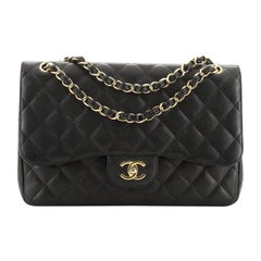 Chanel  Vintage Classic Double Flap Bag Quilted Caviar Jumbo