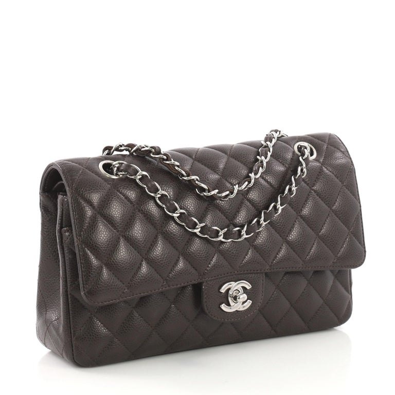 11b4369e384c Black Chanel Vintage Classic Double Flap Bag Quilted Caviar Medium For Sale