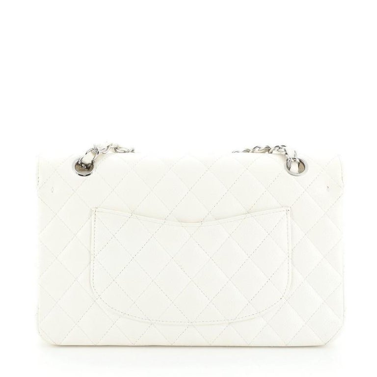 White Chanel Vintage Classic Double Flap Bag Quilted Caviar Medium