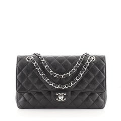 Chanel Vintage Classic Double Flap Bag Quilted Caviar Medium