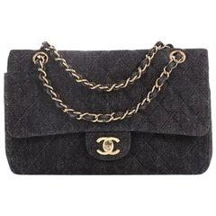 Chanel Vintage Classic Double Flap Bag Quilted Denim Medium
