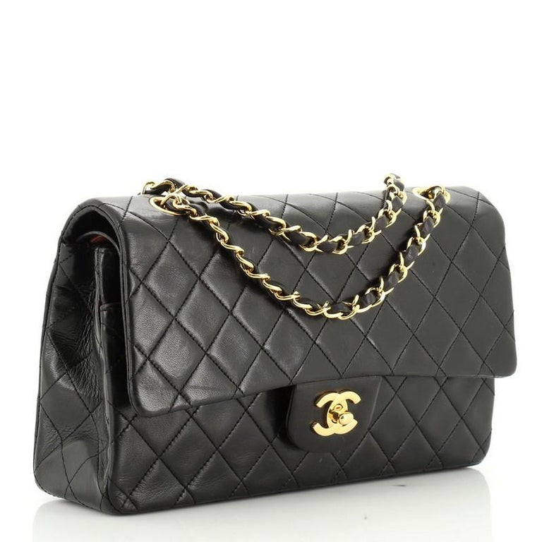 Chanel Vintage Classic Double Flap Bag Quilted Lambskin Medium In Good Condition In New York, NY