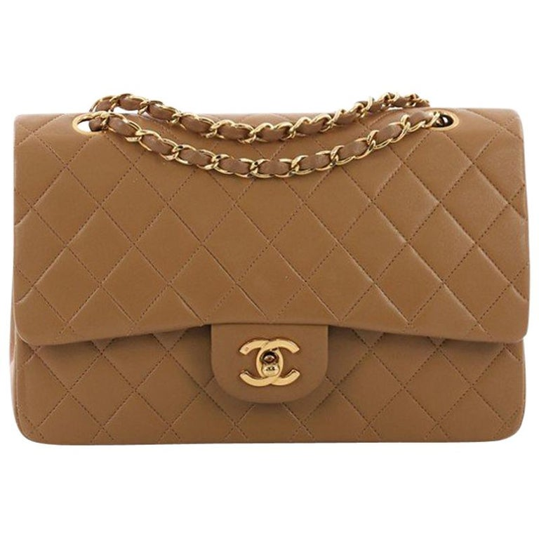 Chanel Vintage Classic Double Flap Bag Quilted Lambskin Medium For Sale abed8082f2b98