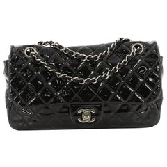 Chanel Vintage Classic Double Flap Bag Quilted Patent Medium