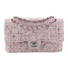 Chanel Vintage Classic Double Flap Bag Quilted Tweed Medium