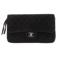Chanel Vintage Classic Flap Backpack Quilted Velvet Medium