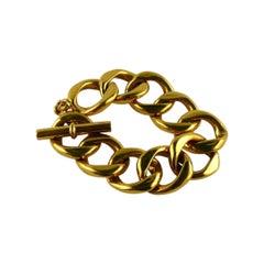 Chanel Vintage Classic Gold Toned Curb Chain Bracelet