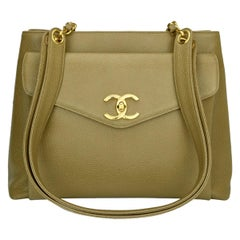 CHANEL Vintage Classic Shoulder Bag Beige Caviar with Gold Hardware 1995