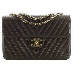 Chanel Vintage Classic Single Flap Bag Chevron Lambskin Maxi