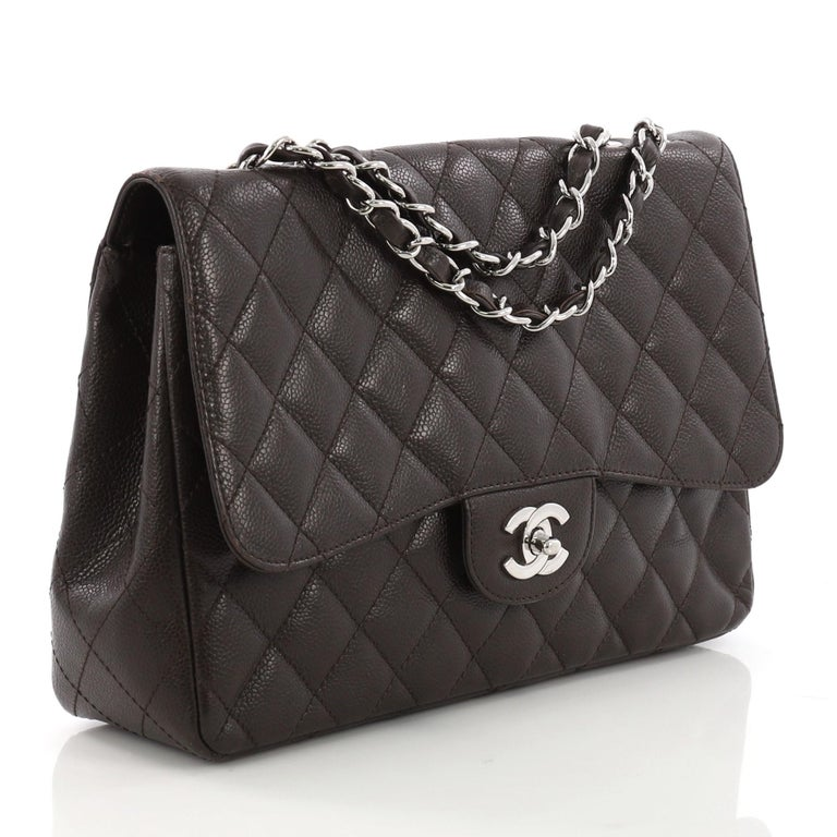 1cfff6962084 Black Chanel Vintage Classic Single Flap Bag Quilted Caviar Jumbo For Sale