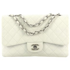 Chanel Vintage Classic Single Flap Bag Quilted Caviar Jumbo
