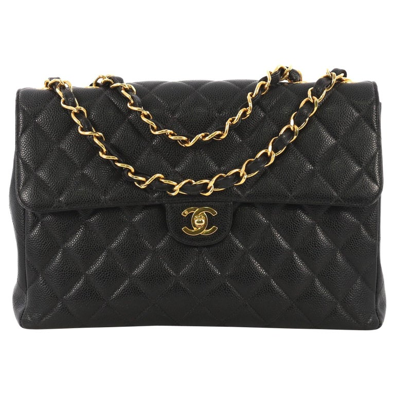 9cc6829a06601a Chanel Vintage Classic Single Flap Bag Quilted Caviar Maxi For Sale ...