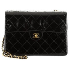 Chanel Vintage Classic Single Flap Bag Quilted Patent Jumbo