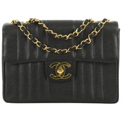 Chanel Vintage Classic Single Flap Bag Vertical Quilt Caviar Jumbo