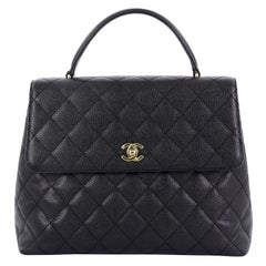 e0ebc7a4c8636d Chanel Vintage Classic Top Handle Flap Bag Quilted Caviar Jumbo