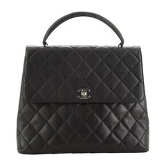 Chanel Vintage Classic Top Handle Flap Bag Quilted Caviar Jumbo,