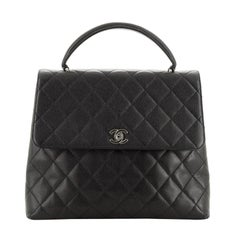 Chanel Vintage Classic Top Handle Flap Bag Quilted Caviar Jumbo