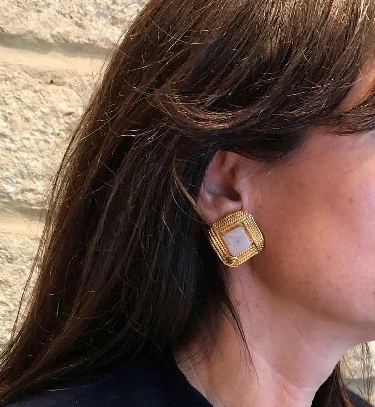 Chanel Vintage Clip-on Earrings In Good Condition For Sale In Paris, FR
