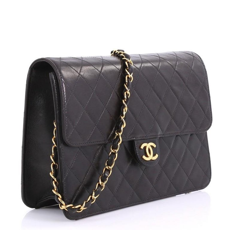 ed6eb7943bb5 Black Chanel Vintage Clutch with Chain Quilted Leather Medium For Sale