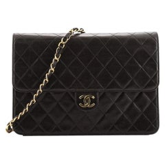 Chanel Vintage Clutch with Chain Quilted Leather Medium
