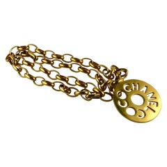 Chanel Vintage Coco Chanel Cutout Openwork Logo Medallion Necklace