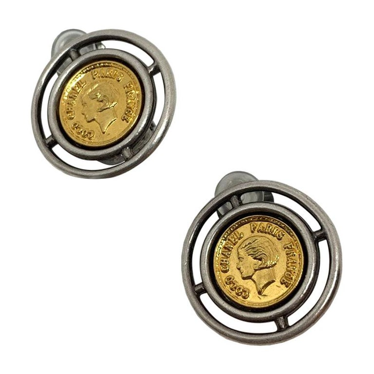 Chanel Vintage Coins Clips Earrings For Sale