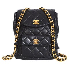 Chanel vintage collectible 1994 quilted black lambskin Duma CC logo backpack