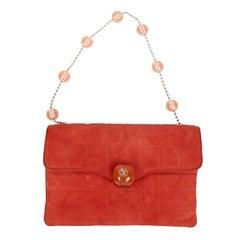 CHANEL Vintage Coral Suede Bag
