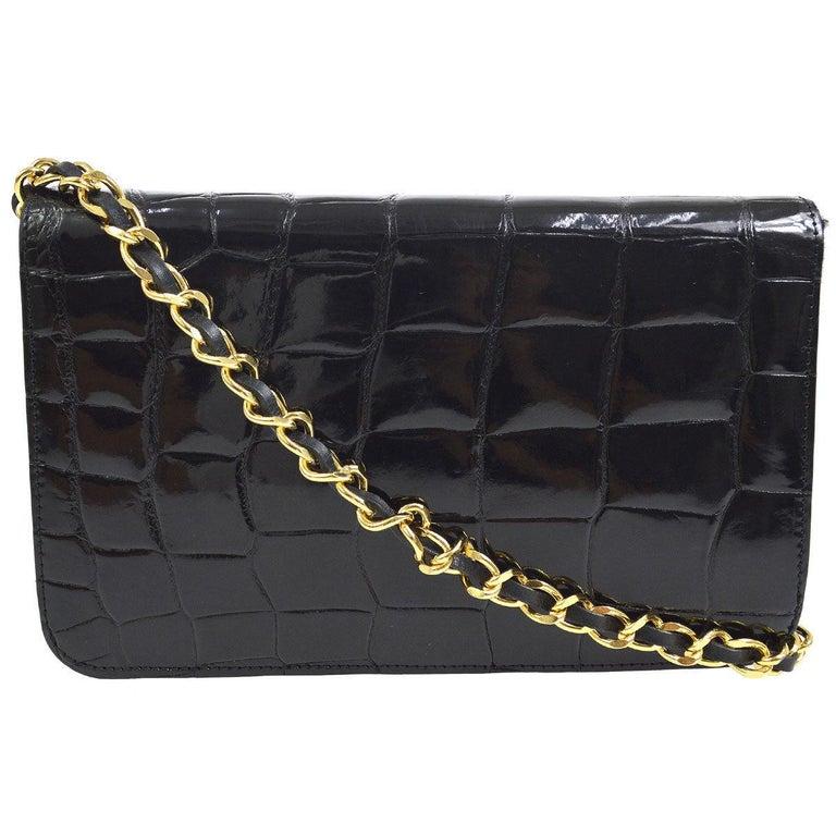 Black Chanel Vintage Crocodile WOC 2 in 1 Clutch Evening Shoulder Flap Bag For Sale