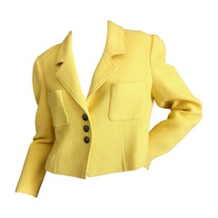 Chanel  Vintage Cropped Yellow Boucle Jacket w CC buttons and Chain Weighted Hem