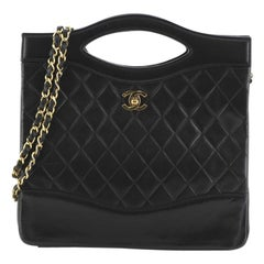 Chanel Vintage Cut Out Chain Handle Bag Quilted Lambskin Medium
