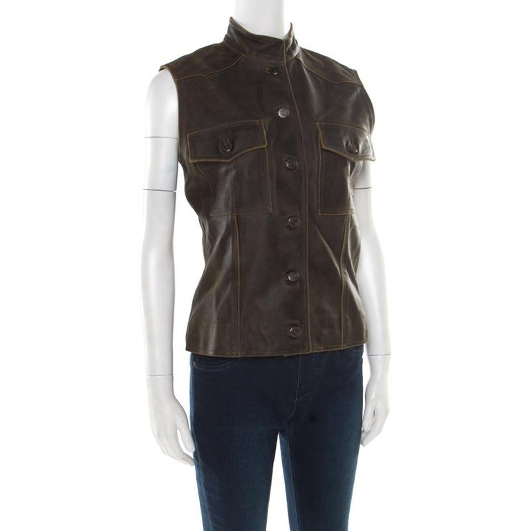 Black Chanel Vintage Dark Brown Calfskin Leather Button Front Vest M For Sale